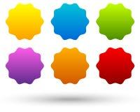 Σύνολο 6 ζωηρόχρωμου, ζωηρού κουμπιού, υπόβαθρα εμβλημάτων με το κενό s διανυσματική απεικόνιση