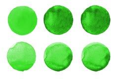 Σύνολο ζωηρόχρωμου χρωματισμένου χέρι κύκλου watercolor στο λευκό Απεικόνιση για το καλλιτεχνικό σχέδιο Στρογγυλοί λεκέδες, σταγό Στοκ Φωτογραφία