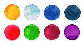 Σύνολο ζωηρόχρωμου χρωματισμένου χέρι κύκλου watercolor στο λευκό Απεικόνιση για το καλλιτεχνικό σχέδιο Στρογγυλοί λεκέδες, μπλε  Στοκ Εικόνες