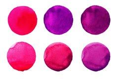 Σύνολο ζωηρόχρωμου χρωματισμένου χέρι κύκλου watercolor στο λευκό Απεικόνιση για το καλλιτεχνικό σχέδιο Στρογγυλοί λεκέδες, σταγό Στοκ φωτογραφίες με δικαίωμα ελεύθερης χρήσης