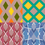 Σύνολο ζωηρόχρωμων άνευ ραφής σχεδίων με τα γεωμετρικά στοιχεία Στοκ φωτογραφίες με δικαίωμα ελεύθερης χρήσης