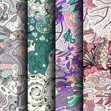 Σύνολο ζωηρόχρωμων άνευ ραφής σχεδίων tracery Κυρτά doodling υπόβαθρα για το κλωστοϋφαντουργικό προϊόν ή εκτύπωση με το mehndi κα Στοκ εικόνες με δικαίωμα ελεύθερης χρήσης