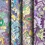 Σύνολο ζωηρόχρωμων άνευ ραφής σχεδίων tracery Κυρτά doodling υπόβαθρα για το κλωστοϋφαντουργικό προϊόν ή εκτύπωση με το mehndi κα Στοκ Φωτογραφία
