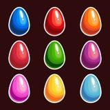 Σύνολο ζωηρόχρωμων αυγών κινούμενων σχεδίων ελεύθερη απεικόνιση δικαιώματος