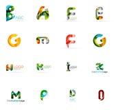Σύνολο ζωηρόχρωμων αφηρημένων εταιρικών λογότυπων επιστολών Στοκ Εικόνες