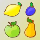 Σύνολο ζωηρόχρωμων εικονιδίων φρούτων κινούμενων σχεδίων Στοκ Εικόνες