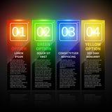 Σύνολο 4 ζωηρόχρωμων εμβλημάτων με τους αριθμούς από 1 έως 4 Χρήσιμος για το σχέδιο Ιστού Στοκ Φωτογραφία