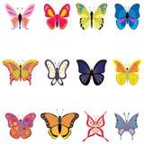 Σύνολο ζωηρόχρωμων διανυσματικών πεταλούδων απεικόνιση αποθεμάτων