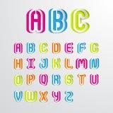 Σύνολο ζωηρόχρωμων κεφαλαίων γραμμάτων Α αλφάβητου στο Ζ Στοκ Εικόνες