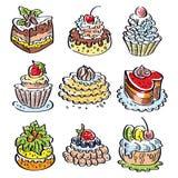 Σύνολο ζωηρόχρωμων νόστιμων cupcakes, κομμάτια των κέικ, και άλλα επιδόρπια αρτοποιείων Στοκ Εικόνες