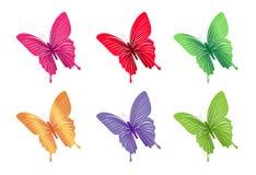 Σύνολο ζωηρόχρωμων πεταλούδων για την άνοιξη Στοκ Εικόνες