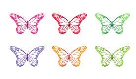 Σύνολο ζωηρόχρωμων πεταλούδων που απομονώνεται για την άνοιξη Στοκ Εικόνες