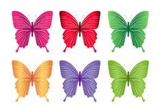 Σύνολο ζωηρόχρωμων πεταλούδων που απομονώνεται για την άνοιξη Στοκ Εικόνα