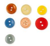 Σύνολο ζωηρόχρωμων ράβοντας κουμπιών στο άσπρο υπόβαθρο Στοκ Εικόνες