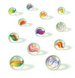 Σύνολο ζωηρόχρωμων ρεαλιστικών μαρμάρων παιχνιδιών γυαλιού ελεύθερη απεικόνιση δικαιώματος