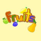 Σύνολο ζωηρόχρωμων φρούτων κινούμενων σχεδίων Στοκ φωτογραφίες με δικαίωμα ελεύθερης χρήσης