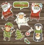 Σύνολο ζωηρόχρωμων χαρακτήρων και διακοσμήσεων Χριστουγέννων Στοκ Εικόνα