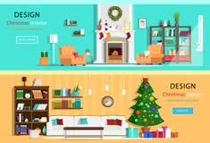 Σύνολο ζωηρόχρωμων δωματίων σπιτιών σχεδίου Χριστουγέννων εσωτερικών με τα εικονίδια επίπλων Στεφάνι Χριστουγέννων, χριστουγεννιά Στοκ Εικόνες