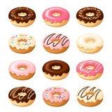 σύνολο ζωηρόχρωμων donuts επίσης corel σύρετε το διάνυσμα απεικόνισης Στοκ Εικόνες