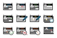 Σύνολο ημερολογίων εικονιδίων απεικόνιση αποθεμάτων