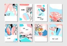 Σύνολο δημιουργικών καθολικών καρτών Συρμένες χέρι συστάσεις Γάμος, επέτειος, γενέθλια, ημέρα βαλεντίνων ` s, κόμμα Σχέδιο για Στοκ Εικόνες