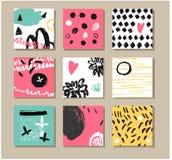 Σύνολο δημιουργικών καθολικών συρμένων χέρι καρτών Στοκ Εικόνα