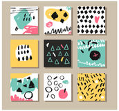 Σύνολο δημιουργικών καθολικών συρμένων χέρι καρτών Στοκ Φωτογραφία