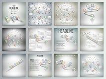 Σύνολο 12 δημιουργικών καρτών, τετραγωνικό πρότυπο φυλλάδιων Στοκ Εικόνα