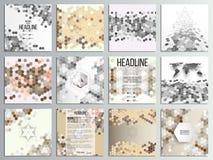 Σύνολο 12 δημιουργικών καρτών, τετραγωνικό πρότυπο φυλλάδιων Στοκ εικόνα με δικαίωμα ελεύθερης χρήσης
