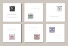 Σύνολο 6 δημιουργικών καλύψεων ή καθολικών καρτών με συρμένες τις χέρι εκλεκτής ποιότητας γραφομηχανές Στοκ φωτογραφίες με δικαίωμα ελεύθερης χρήσης