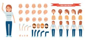 Σύνολο δημιουργιών χαρακτήρα γυναικών Εθελοντής νέων κοριτσιών στοκ εικόνες