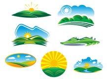 Σύνολο ηλιόλουστων θερινών τοπίων ελεύθερη απεικόνιση δικαιώματος