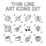Σύνολο θέματος τέχνης 12 ποιοτικών εικονιδίων - σχεδιασμός και ζωγραφική, μουσική, διανυσματική απεικόνιση