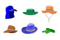 Σύνολο θερινών καπέλων για τους άνδρες και τις γυναίκες Στοκ φωτογραφίες με δικαίωμα ελεύθερης χρήσης