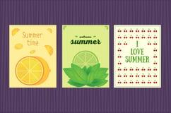 Σύνολο θερινών καρτών επίσης corel σύρετε το διάνυσμα απεικόνισης Στοκ Φωτογραφία