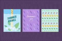 Σύνολο θερινών καρτών επίσης corel σύρετε το διάνυσμα απεικόνισης Στοκ Εικόνες