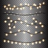 Σύνολο θερμών ελαφριών γιρλαντών λαμπτήρων, εορταστικές διακοσμήσεις Φω'τα Χριστουγέννων πυράκτωσης στο διαφανές υπόβαθρο απεικόνιση αποθεμάτων