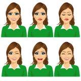 σύνολο θηλυκών εκφράσεων ειδώλων Στοκ Εικόνες