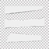 Σύνολο διάφορων άσπρων σχισμένων εγγράφων σημειώσεων για το διαφανές υπόβαθρο επίσης corel σύρετε το διάνυσμα απεικόνισης Στοκ Εικόνες