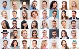 Σύνολο διάφορων ανθρώπων που εκφράζουν τις θετικές συγκινήσεις Στοκ εικόνες με δικαίωμα ελεύθερης χρήσης