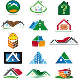 Σύνολο διάφορων εικονιδίων σπιτιών απεικόνιση αποθεμάτων