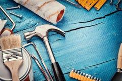 Σύνολο διάφορων εργαλείων Έννοια κατασκευής και ανακαίνισης Στοκ Φωτογραφία