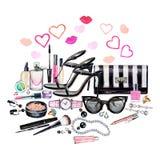 Σύνολο διάφορων θηλυκών εξαρτημάτων watercolor Προϊόντα Makeup απεικόνιση αποθεμάτων