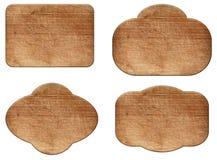 Σύνολο διάφορων κενών ξύλινων σημαδιού ή μορφών στοκ φωτογραφία