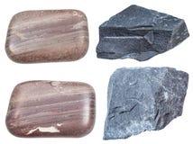 Σύνολο διάφορων μεταλλευμάτων argillite που απομονώνεται Στοκ εικόνα με δικαίωμα ελεύθερης χρήσης