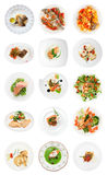 Σύνολο διάφορων πιάτων ψαριών στο λευκό Στοκ Φωτογραφίες