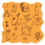 Σύνολο διάφορων σχεδίων γατών - απεικόνιση Στοκ Εικόνες