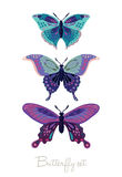 Σύνολο διακοσμητικών διανυσματικών πεταλούδων Στοκ Εικόνες