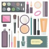 Σύνολο διακοσμητικών καλλυντικών με mascara, τη σκιά ματιών, κ.λπ. επίσης corel σύρετε το διάνυσμα απεικόνισης απεικόνιση αποθεμάτων