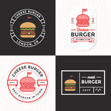Σύνολο διακριτικών, εμβλήματος, ετικετών και λογότυπου για το χάμπουργκερ, burger κατάστημα Απλό και ελάχιστο σχέδιο Στοκ εικόνα με δικαίωμα ελεύθερης χρήσης
